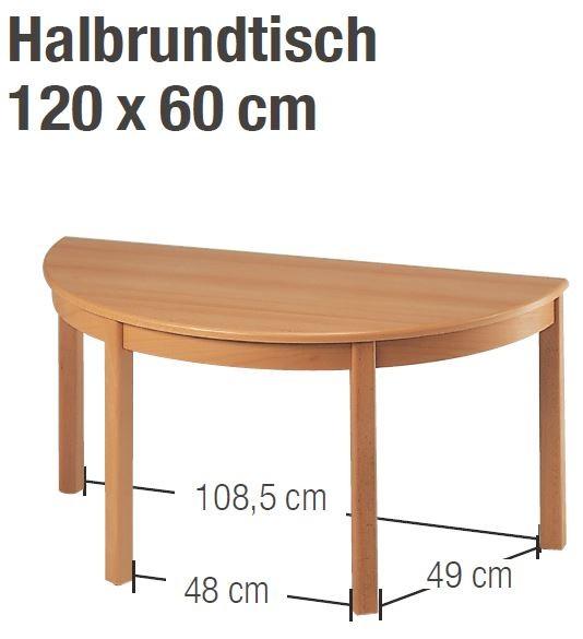 Tisch 120 x 60 cm halbrund